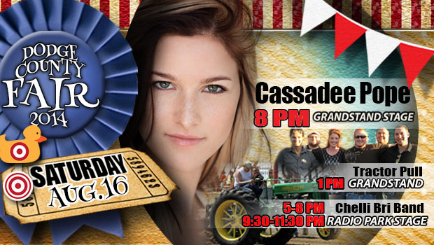 Cassadee Pope will highlight the day on Saturday as the Main Stage Performer at the Dodge County Fair.