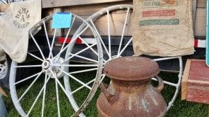 Wagon Wheels a Milk Can and Grain Sacks