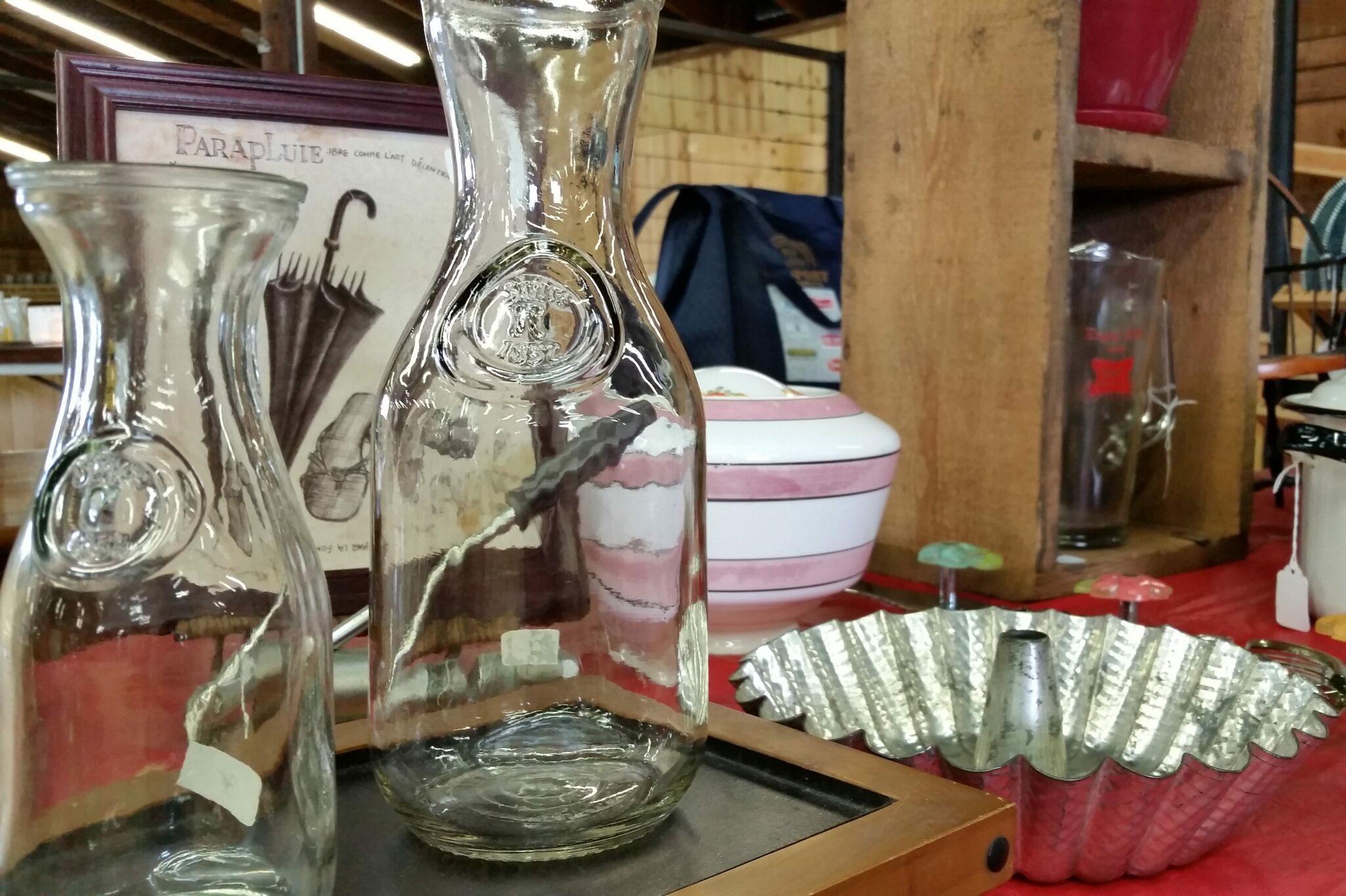 Glass Milk and Kitchen Wares at Flea Market